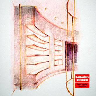 Mappenkurs Retail Design, Raum für Retaildeisgn zeichnen, Zeichnen lernen für Retail Deisgn, Studium Retail Design HSD Düsseldorf