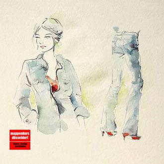 Mappenkurs Modedesign, Modedesign studieren, Illistrieren Mode, Modezeichnen lernen, Studium Modedesign Düsseldorf