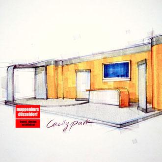 Mappenkurs Retaildesign, Raum zeichnen für Retaildeisgn, Zeichnen lernen für Retail Deisgn, Studieren Retail Design HSD Düsseldorf