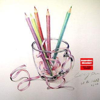 Stillleben zeichnen, Stillleben illustieren, Zeichnen des Stilllebens, Illustration des Stilllebens