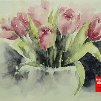 Aquarellmalerei,  Malen mit Aquarell, Aquarellkurs, Blumen mit Aquarell malen lernen, Malkurs Düsseldorf