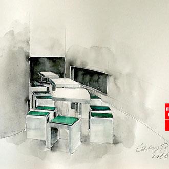 Mappenkurs Retaildesign, Raum zeichnen für Retaildeisgn, Zeichnen lernen für Retail Deisgn, Studium Retail Design HSD Düsseldorf
