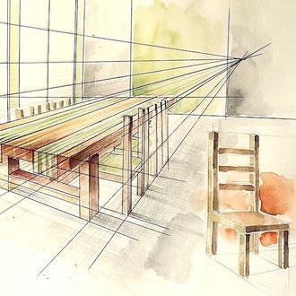 Mappenkurs Möbeldesign, Möbel Design studieren, Möbel zeichnen lernen, Studium Möbel design NRW
