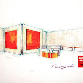 Mappenkurs Retaildesign, Raum für Retaildeisgn zeichnen, Zeichnen Raum für Retail Deisgn, studiren Retail Design HSD Düsseldorf