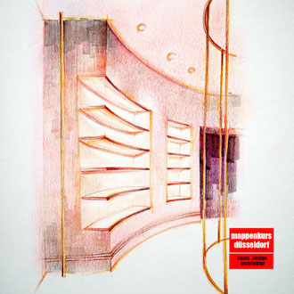 Mappenkurs Exhibition Design, Ausstellungsdesign, Raum zeichnen lernen für Exhibition Deisgn, Studium Exhibitiondesign HSD Düsseldorf