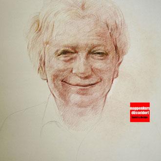 Portraitzeichnen, Portraitkurs, Portrait mit Rötel zeichnen lernen, Zeichenkurs Portrait Düsseldorf