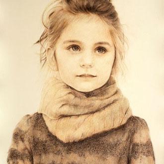 Portraitzeichnen, Portraitkurs, Kinderportrait mit Rötel zeichnen lernen, Zeichenkurs Portrait Düsseldorf