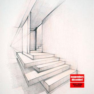 Perspektivisches Zeichnen, Perspektivisches Zeichnen lernen,  Mappenkurs Düsseldorf