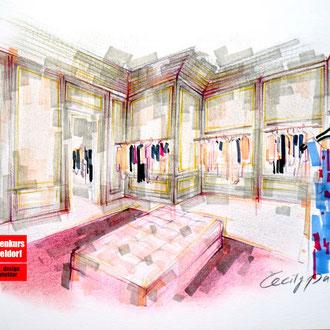 Mappenkurs Retaildesign, Raum für Retaildeisgn zeichnen, Zeichnen lernen für Retail Deisgn, Studium Retail Design HSD Düsseldorf
