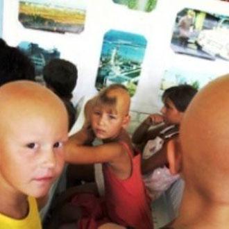 Børn fra atomkraftarbejdernes by Pripjat/Tjernobyl