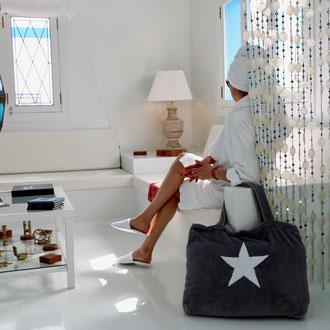 BYRH Strandtasche - Dunkelgrau mit Stern aus Frottee