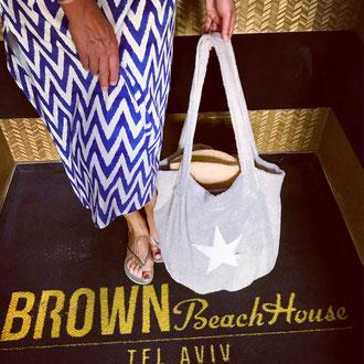 Strandbag - Bucket Bag - Beach Basket - Silbergrau Frottee mit Stern