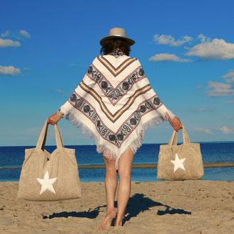 BYRH Beach Bag - Pool Bag - Taupe - Strandtasche mit Stern - Sylt - Ibiza