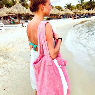 Strandbag  Rose mit Streifen aus Frottee - Bucket Bag - Beach Basket