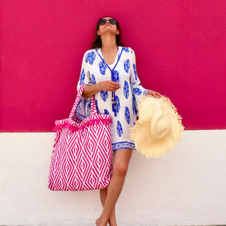 BYRH Strandtasche Ethno-Pink - Boho-Style mit Franse