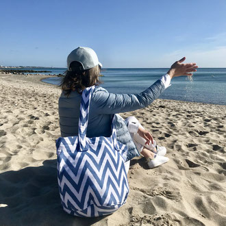 Beach Basket / Bucket Bag - Strandtasche Frottee ZigZag Design