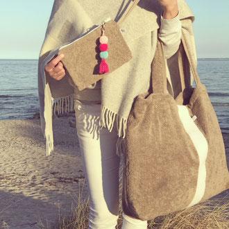 BYRH Strandtasche Frottee Taupe mit Streifen