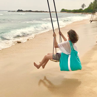 BYRH Beach Bag - Türkis mit Streifen,  Strand mit Schaukel