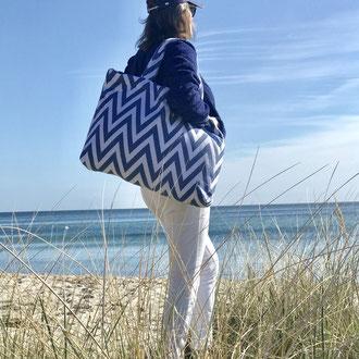 ZigZag Beach Bag Blau-Weiß - Frottee - Strandtasche