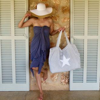 Badetasche Silbergrau mit weißem Stern aus Frottee