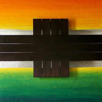 Versöhnung und Frieden, 2-tlg. je 170 cm x 250 cm, Acryl, Papier auf Segeltuch, November 2001