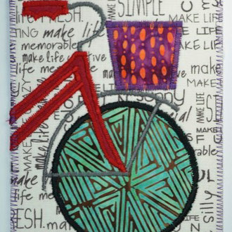 Bicycle Fiber Art Card inspired by Boulder B-Cycle