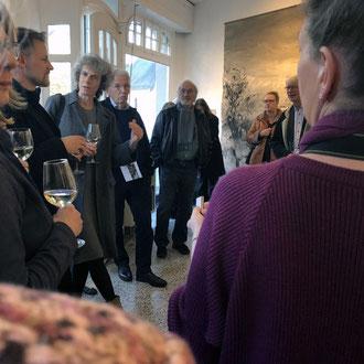 Eröffnungsgespräch in der Galerie ART-ECK in Solingen Gräfrath mit dem Galeristen Dirk Balke und der Künstlerin Petra Fröning