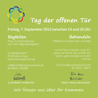 Einladung Tag der offenen Tür 2012 - Praxisgemeinschaft Brutscher und Hölldorfer