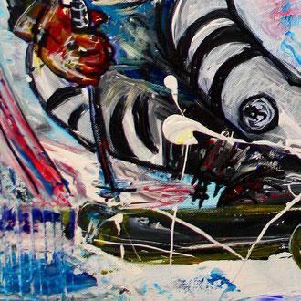 FREERIDE - Skifahrer Bild Gemälde - Deutscher Skiläufer