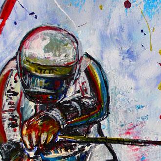 FREERIDE - Skifahrer Bild Gemälde - Deutscher Skiläufer Slalom