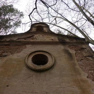 Capella del Mas Roig, detall de la façana. 2017. Imatge: Joan Muñoz Pinós.