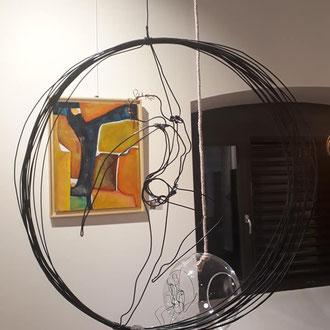 """ARC EN LUNE Fabienne Quenard danseuse """"Arc en Cirque"""" 3D dans cercle fil de fer"""