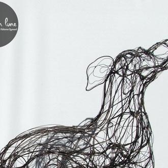 """ARC EN LUNE Fabienne Quenard """"Chien course folle"""" en fil de fer 3D sur socle H.105 x L.110 x 35cm"""