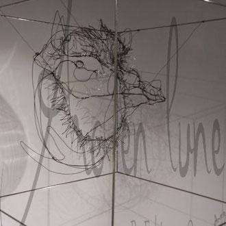 """""""Arthur"""" tête sanglier dans cube fil de fer 3D de Arc en Lune 50x50cm"""