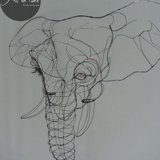 """ARC EN LUNE Fabienne Quenard """"Mon Elef sans e-cu..."""" tête éléphant 3D en fil de fer H.85xL.85xP.30cm"""