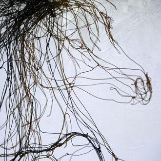 Crin noir cheval cabré en fil de fer 3D de Arc en Lune sur cadre finition béton ciré H.150xL.70cm