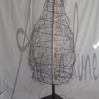 """Lampadaire """"Mon arbre lumière"""" fil de fer 3D et bois de Arc en Lune, frêne brut cintré à la main, socle acier, 2X12w led en bi-émission, cordon alimentation tissu, H.230xl.80cm"""