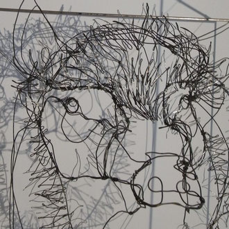"""ARC EN LUNE Fabienne Quenard """"Arthur"""" tête sanglier dans cube fil de fer 3D 50x50cm"""