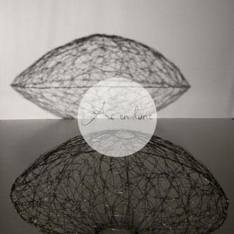 """""""Ellipse"""" abat jour fil de fer de Arc en Lune H.30x diamètre 50cm"""