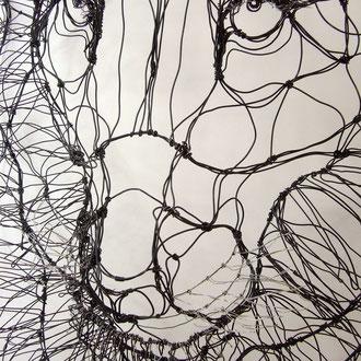 ARC EN LUNE Fabienne Quenard trophée de lion 3D en fil de fer H.95xL.85xP.40cm