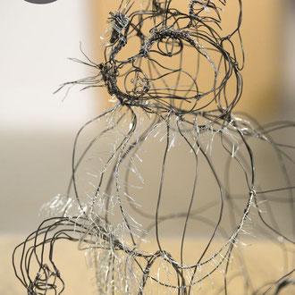 """ARC EN LUNE Fabienne Quenard """"Tigrou"""" en fil de fer 3D"""