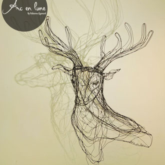 """ARC EN LUNE Fabienne Quenard """"Prince des forêts"""" 3D cerf trophée en fil de fer 3D H.100.L.80xP.50cm"""