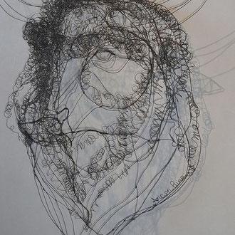 """""""Taureau de Salers"""" en fil de fer 3D de Arc en Lune sur cadre 100x100cm, tête H.80xL.65xP.35cm"""
