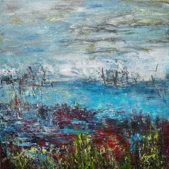Landschap 7 geabstraheerd landschap 50 x 50 cm