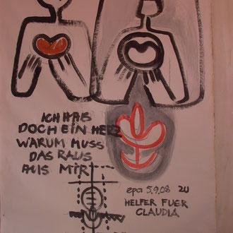 """""""ICH HAB DOCH EIN HERZ, ZU: FONTANE"""", 2019, (Text aus Systemaufstellung 2008), Acryl auf Papier"""