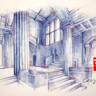 Architekturskizze, Architekturzeichnen für Anfänger, Zeichnen Architektur, Mappenkurs Düsseldorf