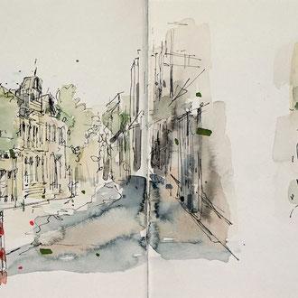 Stadt skizzieren, Urban Skizze, Urban Sketching, Stadt zeichnen, Mappenkurs Düsseldorf