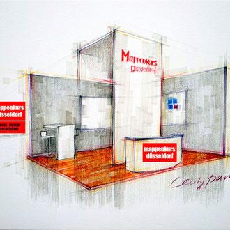 Mapenkurs Retaildesign, Mappe Retaildesign, Retaildesignstudium, Innenraumzeichnen, Innenraumskizze
