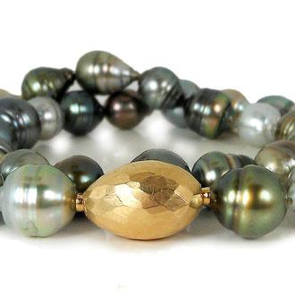Fidschi-Perlencollier mit Verschluss in Gelbgold 750, Preis auf Anfrage