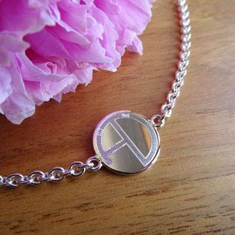 Bracelet in Silber 925 mit graviertem Logo, Kundenauftrag